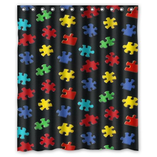 Colorful Autism Awareness Puzzle Piece Waterproof Bathroom Shower Curtain 60