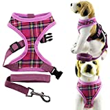 Bolbove Pet Adjustable Classic Plaid Mesh Harness and Leash Set for Dogs (X-Large, Pink)