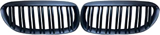 1 Pair Matte Black ABS Chrome Inserts Mesh Grille Trim Cover for BMW E63 2004-2010 Regard