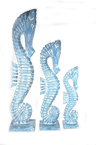 Tropical Seahorse Tiki Decor - Hand Carved Blue White WASH Wood Set of 3 Seahorses Art Tropical Nautical Decor