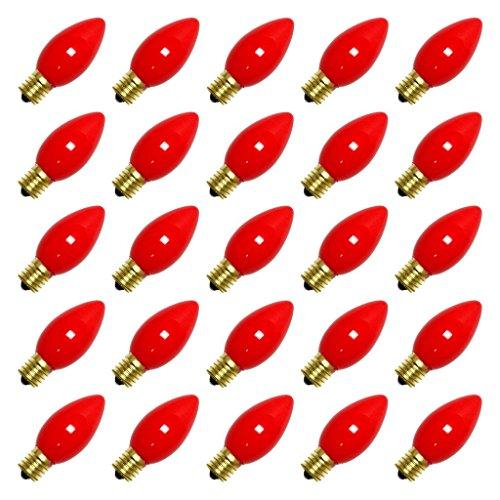 **25 Pack** 7 Watt C9 Ceramic Red Incandescent Light Bulb, Intermediate Base (Christmas Light Fashioned Old Bulbs)