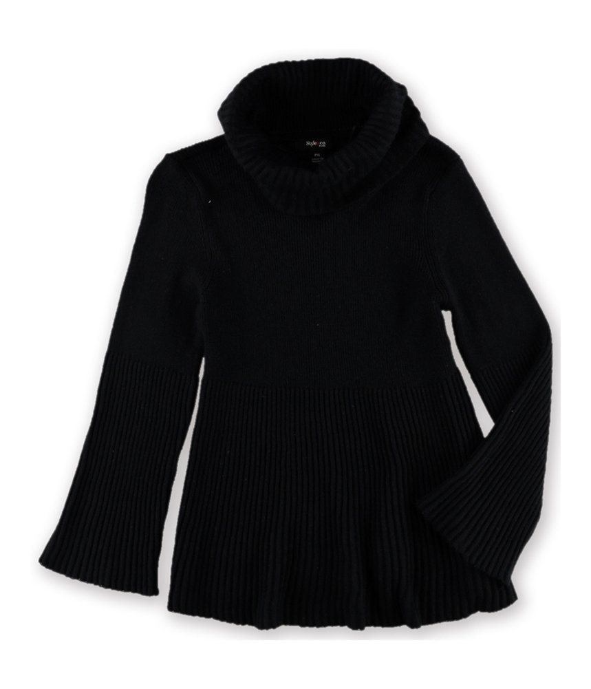 Style & Co. Womens Textured Pullover Sweater Black PXL - Petite