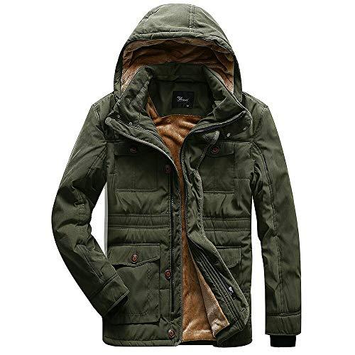 Korago Mens Military Winter Jacket Fleece Coat with 7 Pockets