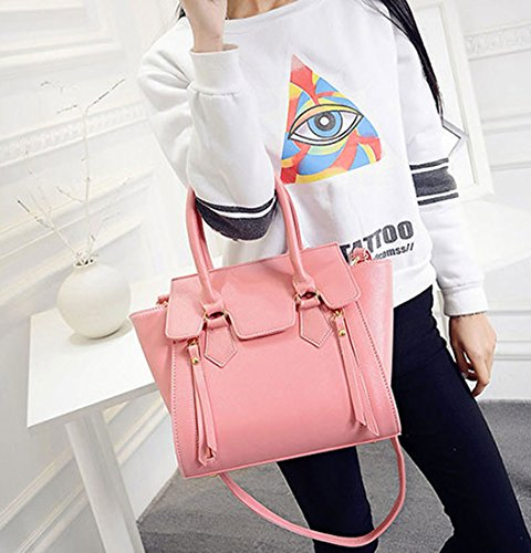 Handle Handbags Cross Top Bags Leather Shoulder Body Pink Women's Bags Bags Faux zdOq8XXxw1