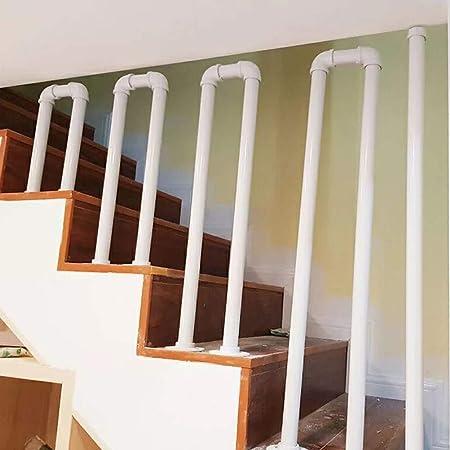 Pasamanos-Industrial Viento Barandillas de Escaleras de Hierro Forjado,instalación en el Piso, Pasamanos Barandilla Blanca, Las Barreras de Seguridad al Aire Libre del Jardín: Amazon.es: Hogar