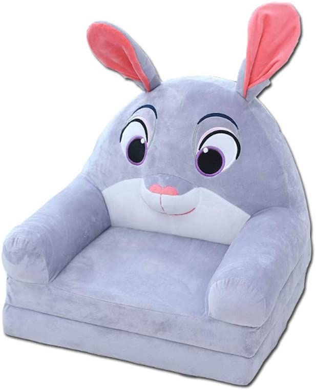 Fivtyily Cute Cartoon Shape Kids Sofa Chair Soft Plush Toddler Armchair Toddler Furniture for Living Room Bedroom (Grey)