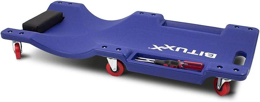 Bituxx Kfz Rollbrett Montagerollbrett Werkstattliege Auto Montageliege Montagebrett Mit 6 Kugelgelagerten 360 Rollen 2 Praktischen Werkzeugablagen Und Gepolsterter Kopfstütze Auto