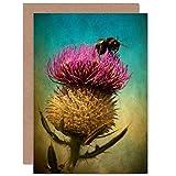 Thistle Edinburgh Scotland Bumble Bee Grunge Blank Birthday Card