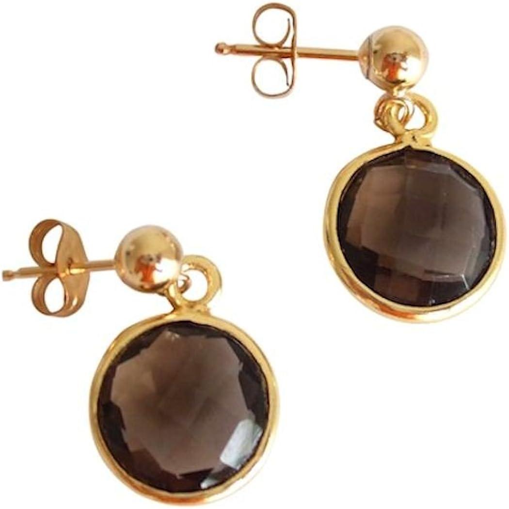 Gemshine - Pendientes de oro de 14kt y cuarzo ahumado, color de la gema marrón