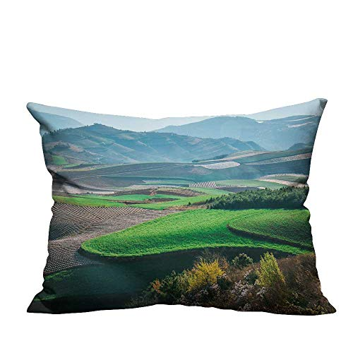 YouXianHome Pillow Case Cushion Cover East sichuan red Land Printing Dyeing (Double-Sided Printing) 13x17.5 ()