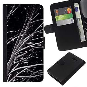All Phone Most Case / Oferta Especial Cáscara Funda de cuero Monedero Cubierta de proteccion Caso / Wallet Case for Sony Xperia M2 // Black White Night Snow