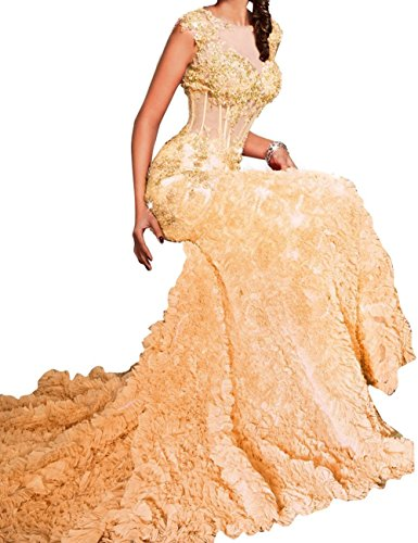 Women's Appliques Evening Lang Abendkleider Fanciest Yellow Kleid Sheer Formelle Ballkleid Sexy Meerjungfrau 5dxfSqA