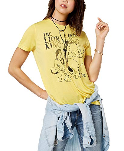 - Mighty Fine Juniors' The Lion King Graphic-Print T-Shirt (Yellow, S)