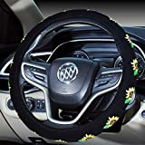 Mayco Bell Automotive Embroidery Cute Universal Car Steering Wheel Cover 2019 New for Women (Sunflower)