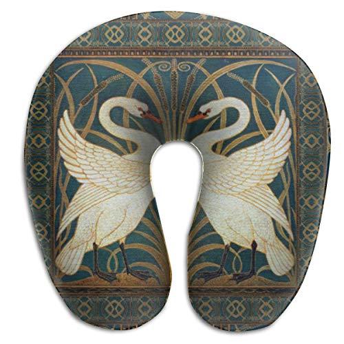 (SINOVAL Walter Crane Swan, Rush and Iris Art Nouveau Suede Travel Pillow Memory Car Airplane Office Home CAF¨¦ Bus Printed U-Shape Chic Neck Pillow)