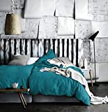 Eikei Washed Cotton Chambray Duvet Cover Solid Color Casual Modern Style Bedding Set Relaxed Soft Feel Natural Wrinkled Look (Queen, Ocean Teal)