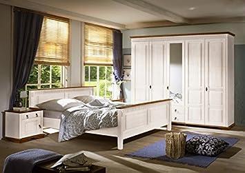 SEVILLA Schlafzimmer Set 4-tlg Kiefer massiv weiß lackiert ...