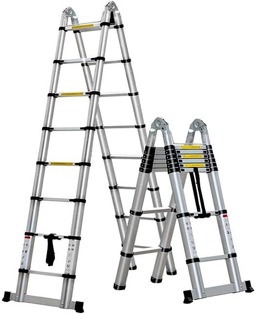 LJSJT Escalera Telescópica Material de Aluminio Engrosado. Escalera de ingenieria Pedal Antideslizante Múltiples Formas Fácil de Cargar Peso del rodamiento 150kg Escalera de 8 escalones 2.5 + 2.5m: Amazon.es: Hogar