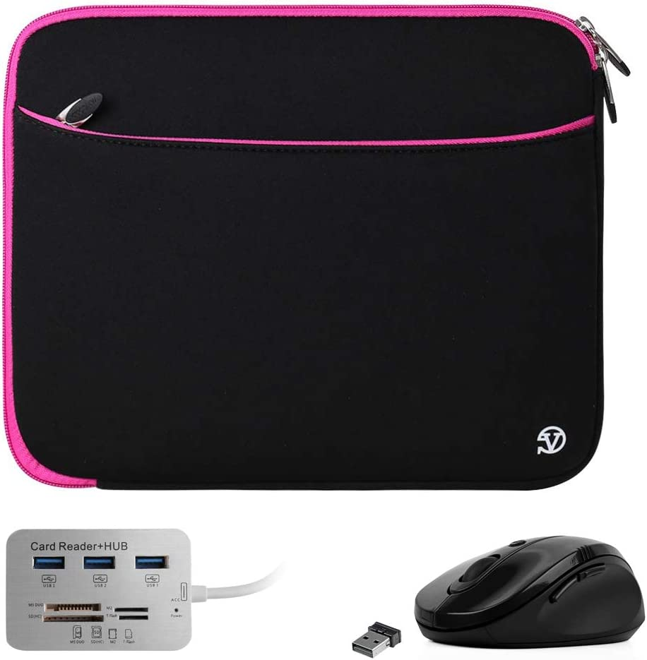 Padded Protective Black Pink 12 11.6-inch Laptop Sleeve, USB Hub, Mouse for Acer Aspire, Chromebook, Spin, TravelMate 11.6