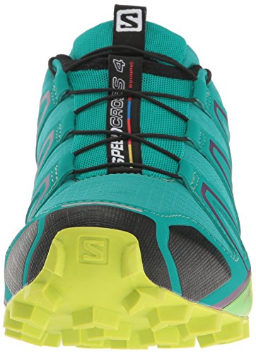 Salomon Women's Speedcross 4 W Trail Runner, Deep Peacock Blue/Lime Punch./Grape Juice, 5 B(M) US by Salomon (Image #4)