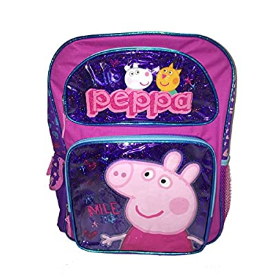 "Peppa Pig Large 16"" School Backpack(purple) high-quality"