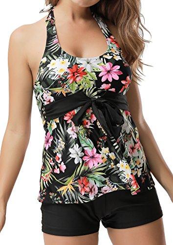 Floral Tankini Bathing Suit (Dellukee Women 2 Piece Bikini Strap Floral Printed Push Up Tankini Swimsuit)
