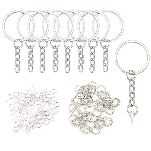 50pcs Key Chains & Rings with 50pcs Eye Screws for Making Keychains, Bulk Keychains Set for Making Polymer Clay ()