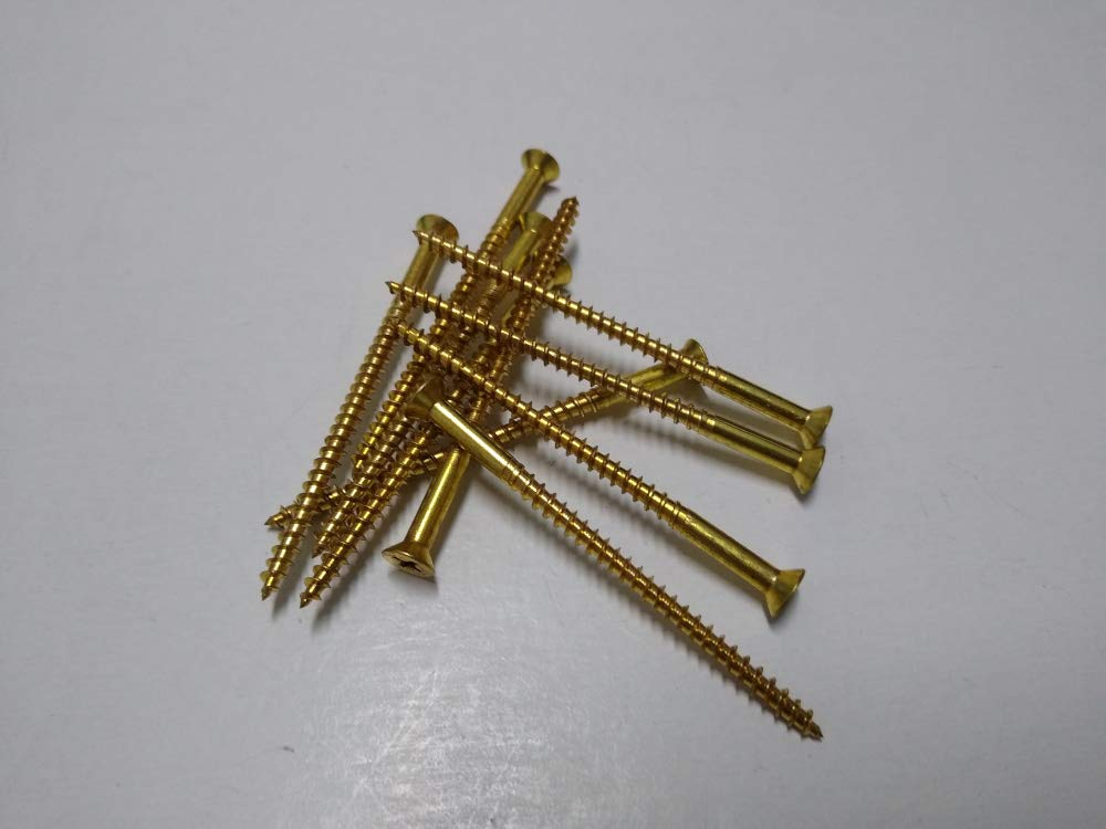20, 8 x 3 SHORPIOEN Wood Screw Flat Head Brass