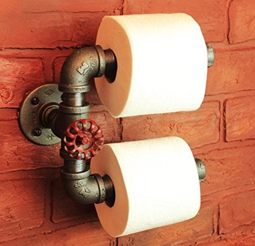 [Industrial Pipe Double Roll Toilet Paper Holder, Toilet Roll Holder Industrial Farmhouse Bathroom decor, Bathroom fixture, Holds 2 rolls at once, Industrial décor] (Loft Toilet Roll Holder)