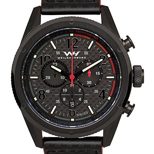 Weil & Harburg Peake - Men's Swiss Racing Chronograph, Carbon Fiber Dial, Carbon Fiber Look Leather Strap, Superluminova, Sapphire Crystal
