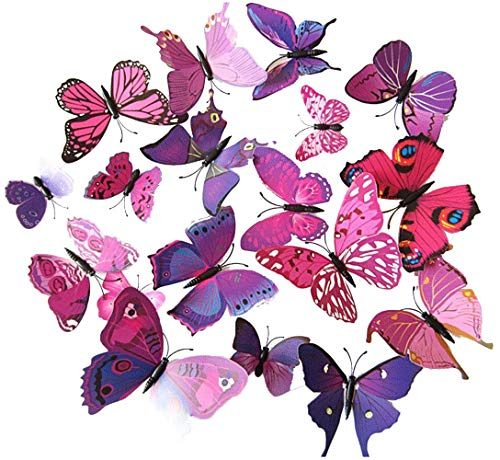 ElecMotive 24 Pcs 3D Butterfly New Home Decoration DIY Removable 3D Vivid Special Man-made Lively Butterfly Art DIY Decor Wall Stickers for Wall Decor Home Decor Wall Art Kids Room Bedroom Decor Living Room Decor (12 Purple + 12 Rose) -