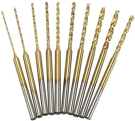 CHUNSHENN 10pcs 0.6-2.2mm HSS Twist Drill Bits Set Titanium Coated High Speed Steel Drill Bits Industrial Tools