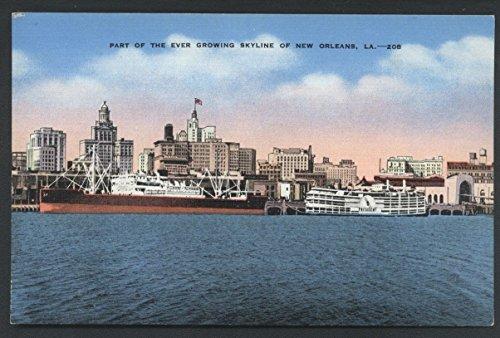 Skyline New Orleans Louisiana Linen Postcard