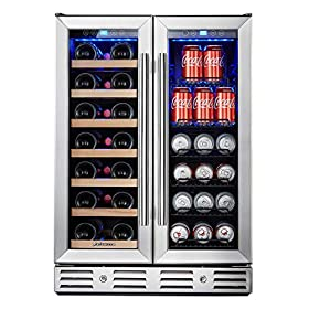 """Kalamera 24"""" Beverage and Wine Cooler Dual Zone Built-in and Freestanding with Stainless Steel Door"""