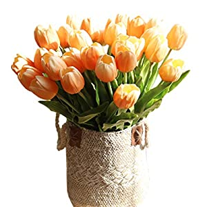 cn-Knight Artificial Flower 12pcs 20'' Long Stem Tulip Faux PU Flower Big Size Fake Tulipa for Wedding Bridal Bouquet Bridesmaid Home Décor Office Baby Shower Centerpiece Reception 79