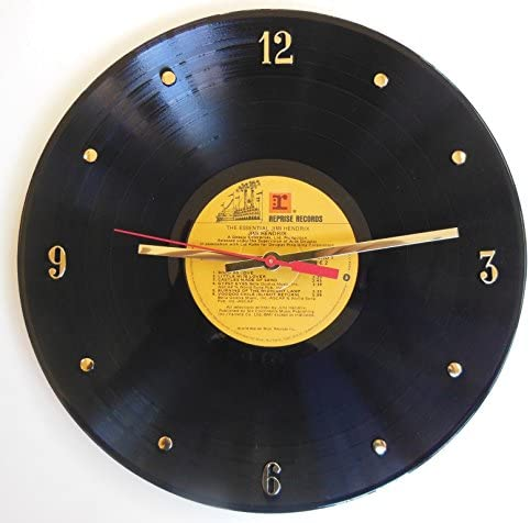 Jimi Hendrix Vinyl Record Clock. 12 Wall Clock Made Using an Original Record.