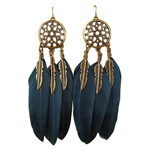 Feather Long Earrings Jewelry Vintage Dream Catcher Fancy Eardrop Hoops Stud Earring Bohemian Valentine's Day Gift (Green)