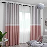 Pink Fresh Curtains Shade Cloth Bedroom Finished Living Room Stitching Children Room Girl (Size : 3 * 2.7m)