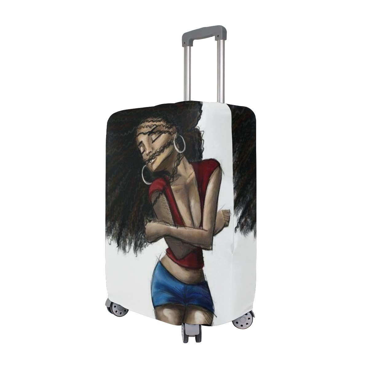Travel Luggage Cover DIY Prints Protector Suitcase Baggage Fit 18-32 inch - Love Black Hair Art by banks jacqueline shop (Image #2)