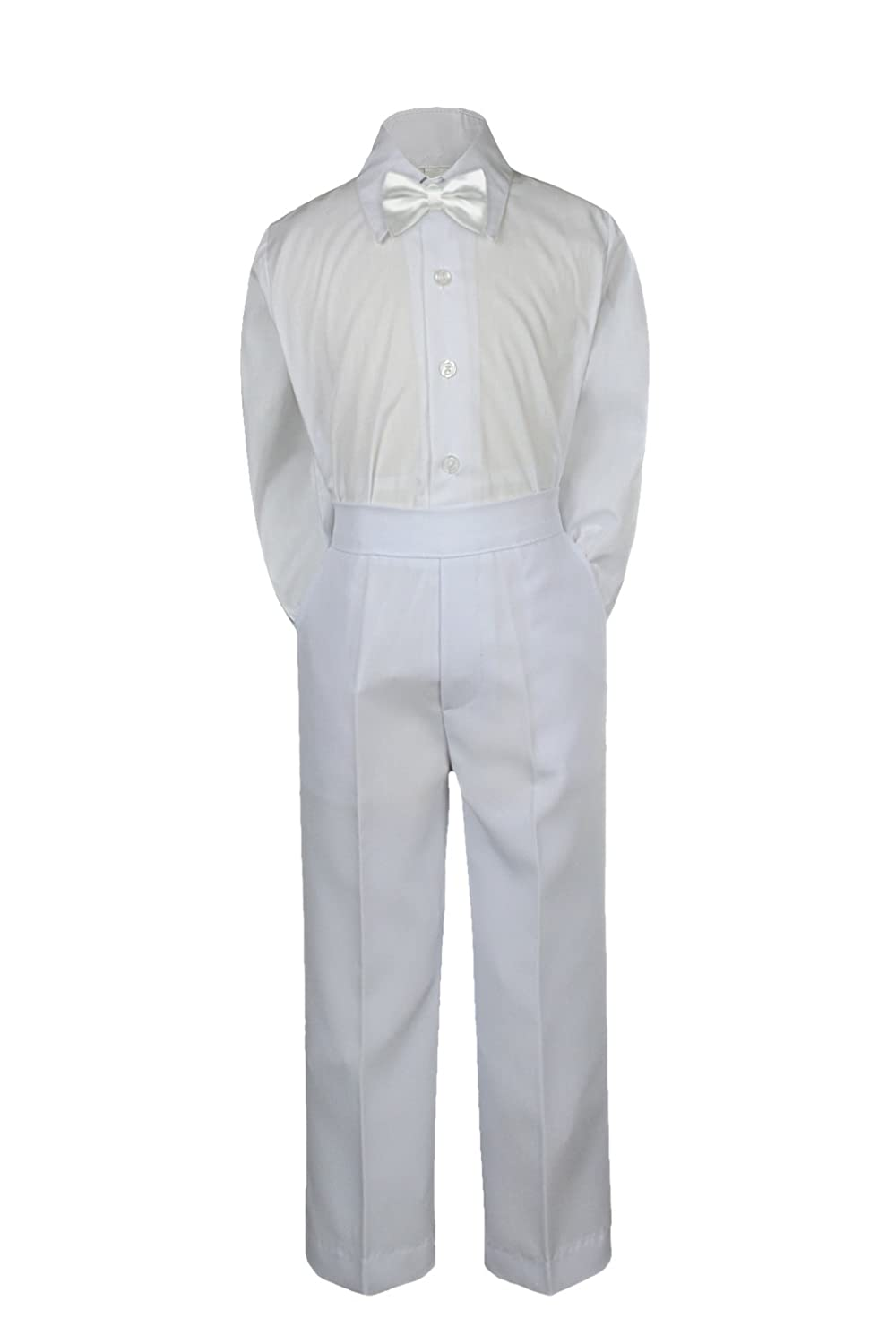 Leadertux 3pc Formal Baby Toddler Boys Satin White Bow Tie White Pants Suits S-7 6