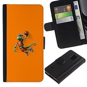 Stuss Case / Funda Carcasa PU de Cuero - Baloncesto camaleón Lagarto - Samsung Galaxy S5 V SM-G900