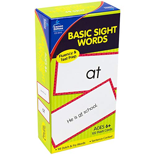 Carson Dellosa - Basic Sight Words Flash Cards - 102 Cards for Phonics, Beginning Readers, 1st Grade Cards, Ages 6 and up (Words Esl Sight)