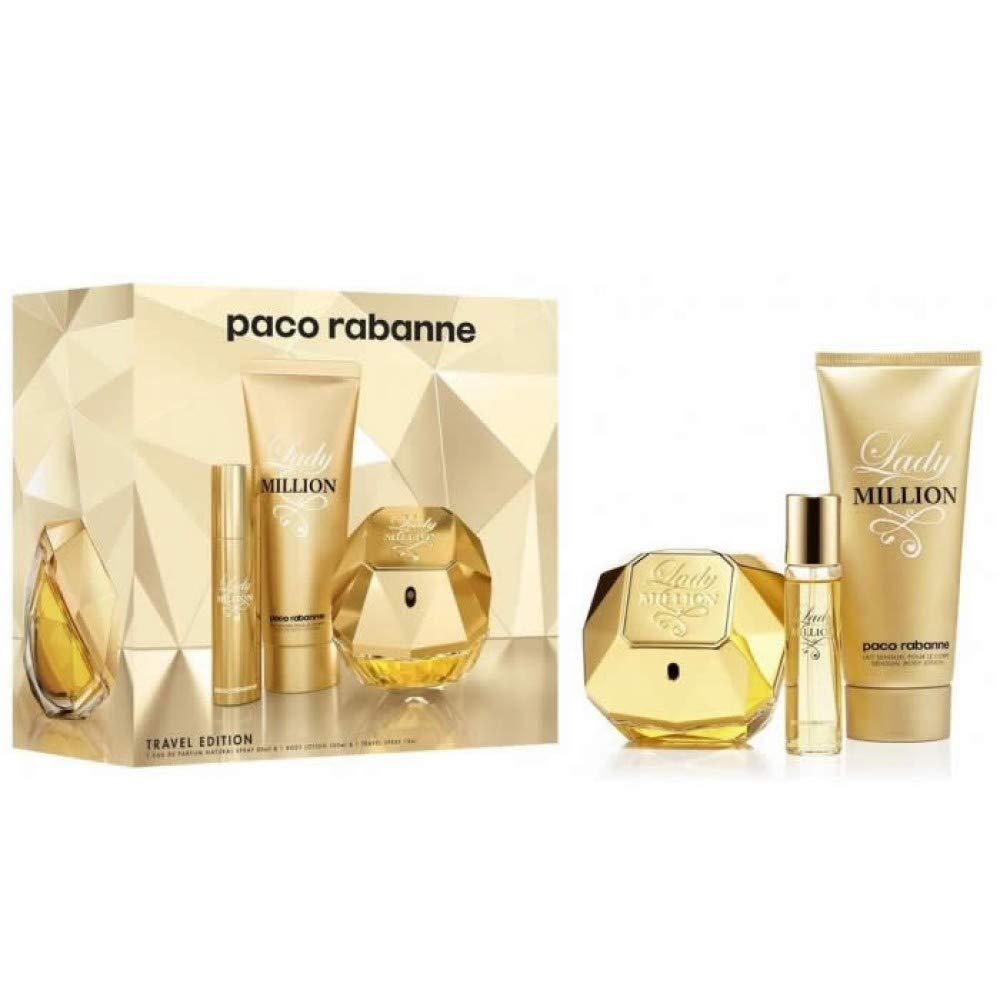Paco Rabanne Lady Million Travel Edition Set: 2.7 oz Eau de Parfum Spray + 3.4 oz Body Lotion + 10ml Travel Spray 42468