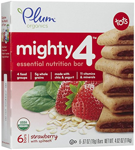 Plum Organics Tots Mighty 4 Bars - Strawberry with Spinach - 4.02 oz
