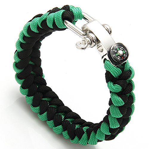 S.S®(SportSpirit)Paracord Survival Bracelet with Small Compass Stainless Steel Adjustable Silver Shackle, Dragon Weave(Black&Green)