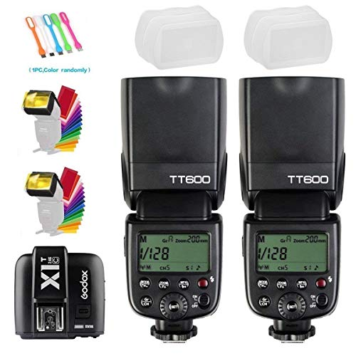 Godox 2X TT600 High Speed Sync 2.4G Wireless Camera Flash Speedlite with Godox X1T-C Remote Trigger Transmitter Compatible for Canon Camera& 2xDiffuser & CONXTRUE USB LED (Best Wireless Flash Trigger For Canon)