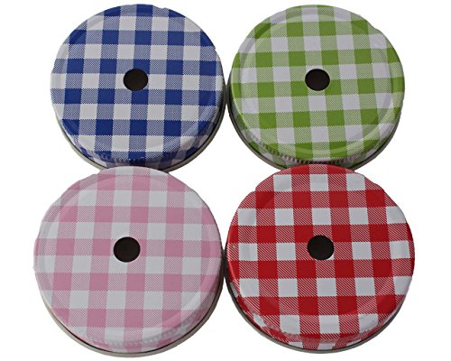 Straw Hole Tumbler Lids for Regular Mouth Mason, Ball, Canning Jars (10 Pack, Gingham)