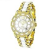 Luxurman Ladies Diamond Ceramic Watch 1.25ct White MOP Galaxy Yellow Gold