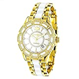 Yellow Gold Plated Steel and White Ceramic Women's Diamond Watch Luxurman Galaxy 1.25ct