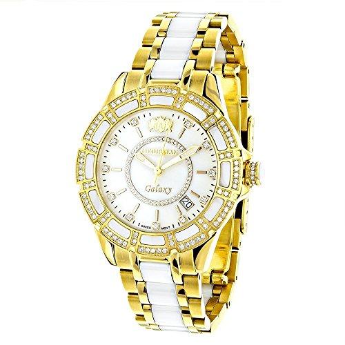 Yellow Gold Plated Steel and White Ceramic Women's Diamond Watch Luxurman Galaxy 1.25ct Swiss (Steel White Ceramic)